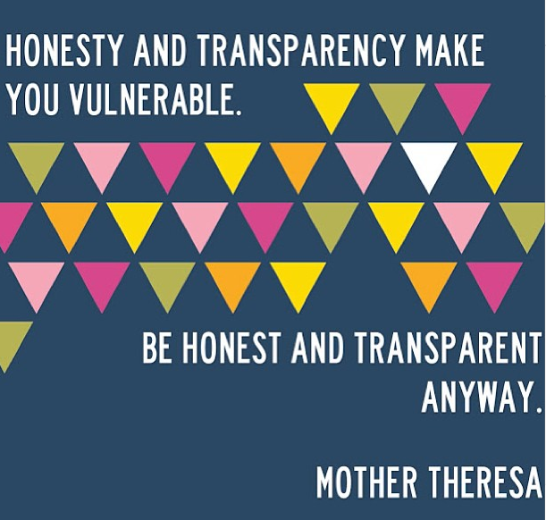 Be Honest + Transparent