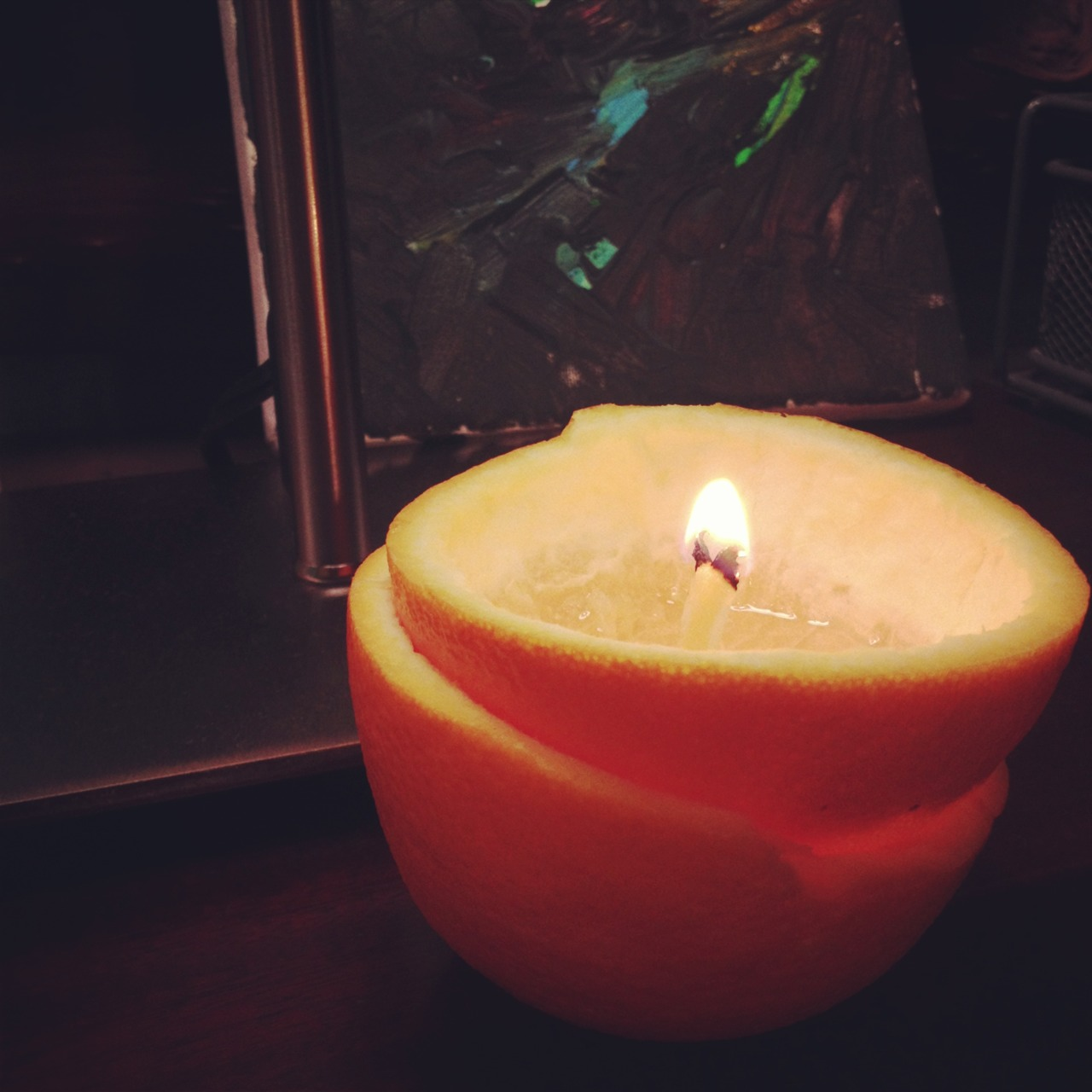 The next time your with out electricity make a candle out of an orange. It looks great, smells better, and gives off quite a bit of light.
