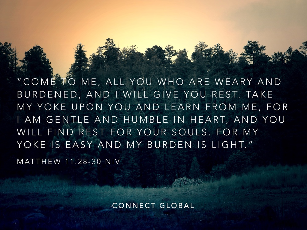 "Image result for ""Come to me, all you who are weary and burdened, and I will give you rest. Take my yoke upon you and learn from me, for I am gentle and humble in heart, and you will find rest for your souls. For my yoke is easy and my burden is light."""