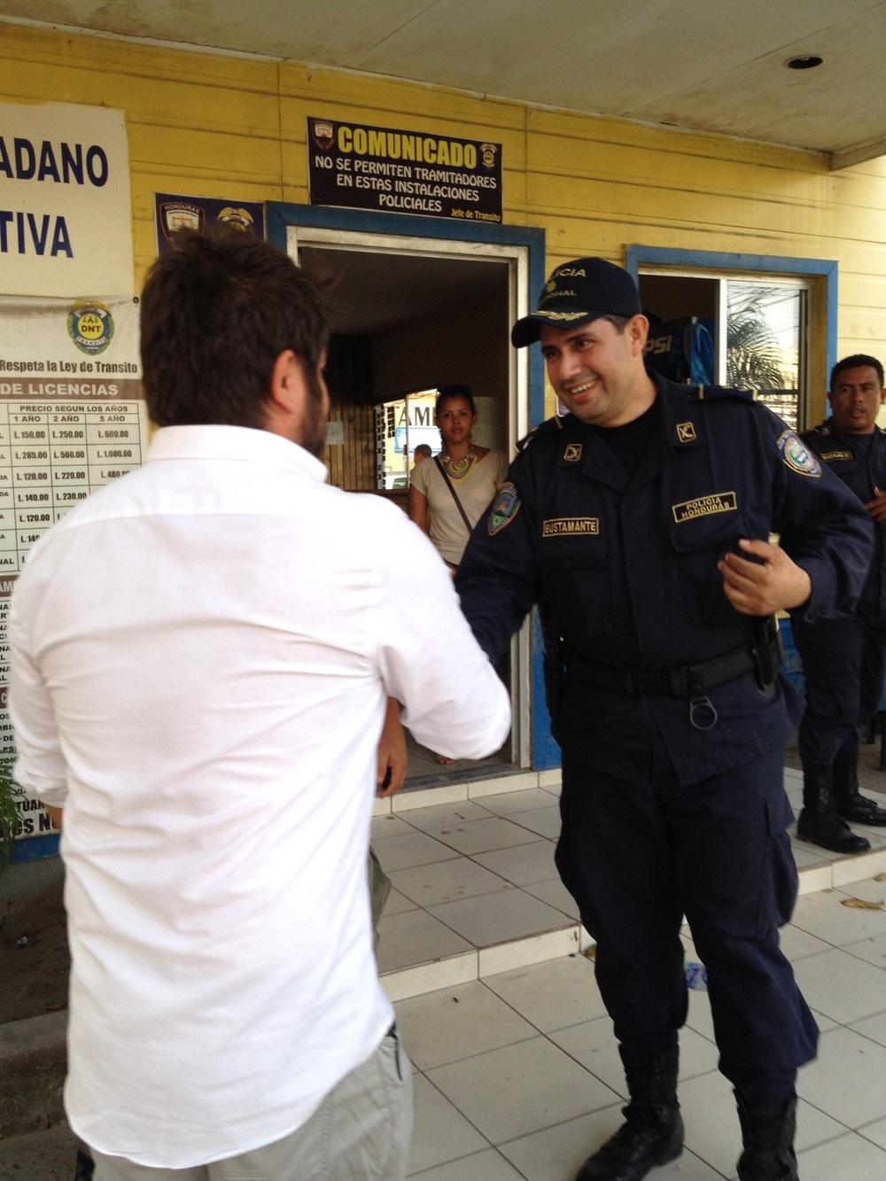 Javier Mendoza with Luis Bustamante in La Ceiba