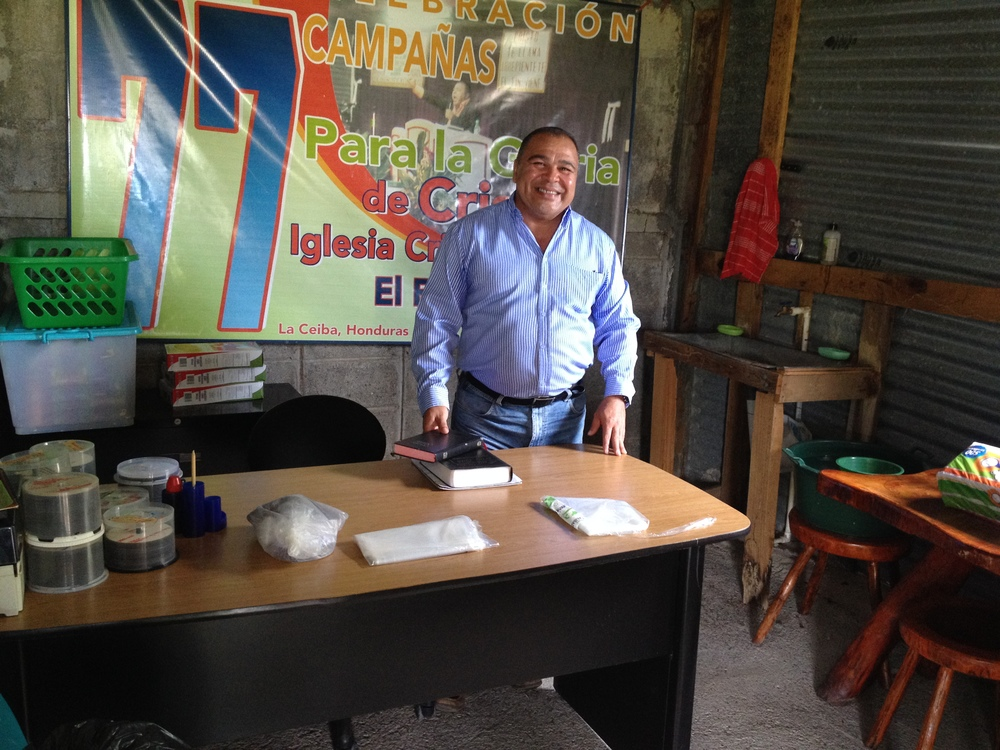 Pastor Fredy Ventura in his office at the Comedor de JesuCristo in La Ceiba, Honduras