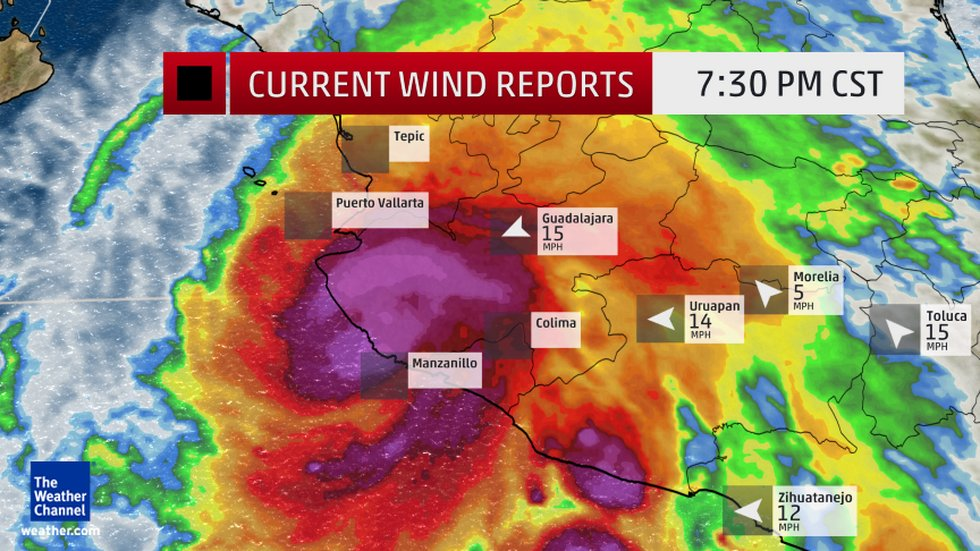 Current Wind Reports and Enhanced Satellite Current wind reports at selected cities in Mexico. Some sites do not report at all times of day. Enhanced satellite imagery shows the cloud pattern in and around the hurricane.