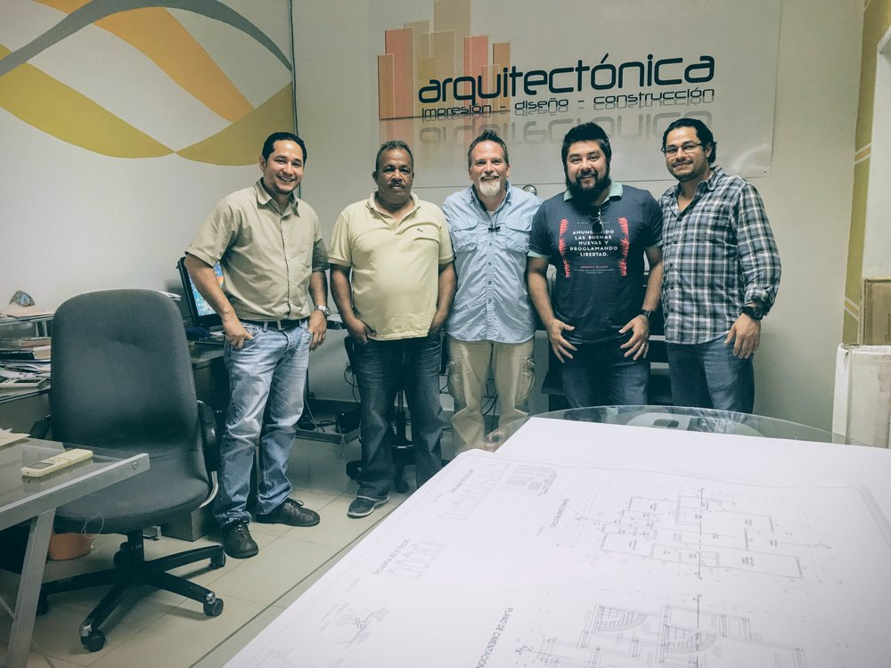 Connect Global Team Including Jorge Amador, Travis Moffitt, and Javier Mendoza with Architect and Contractor, Eduardo Oviedo Jr, Far Left, and his brother Raul Oviedo, Far Right.