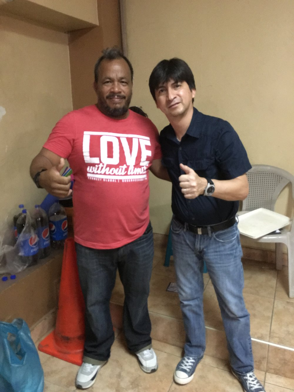Connect Global National Director in Honduras Jorge Amador with Pastor Milton Valle of Puerta del Cielo in La Ceiba, Honduras.