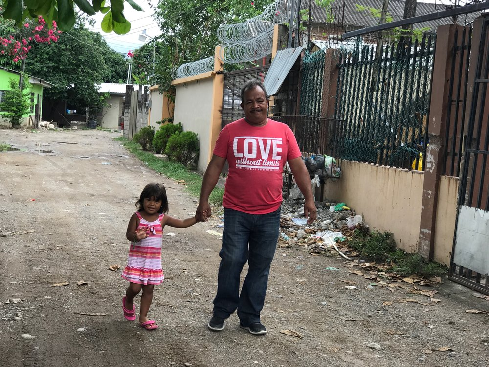 Jorge Amador, National Director in Honduras for Connect Global, with his youngest daughter Alison in La Ceiba, Honduras.