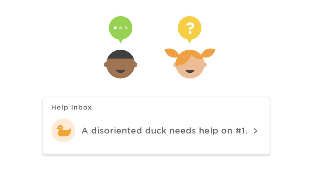 Students can help their peers anonymously: 'a disoriented duck needs help on question one.'