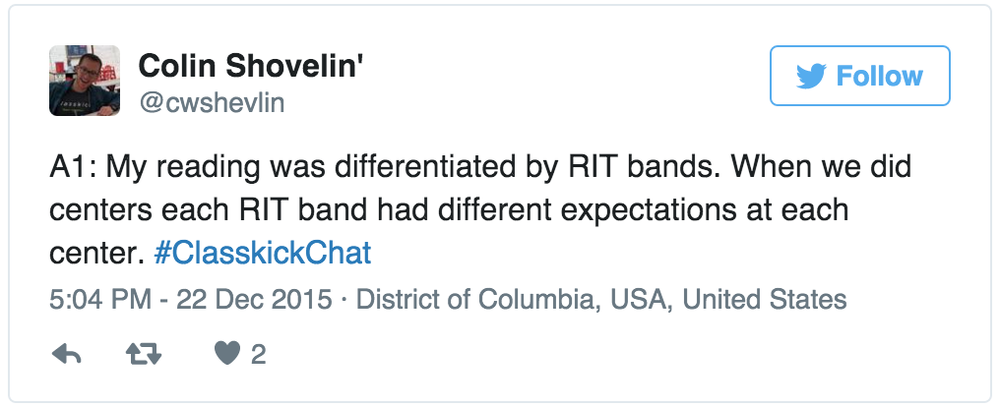 Colin Shovelin' @cwshevlin My reading was differentiated by RIT bands.