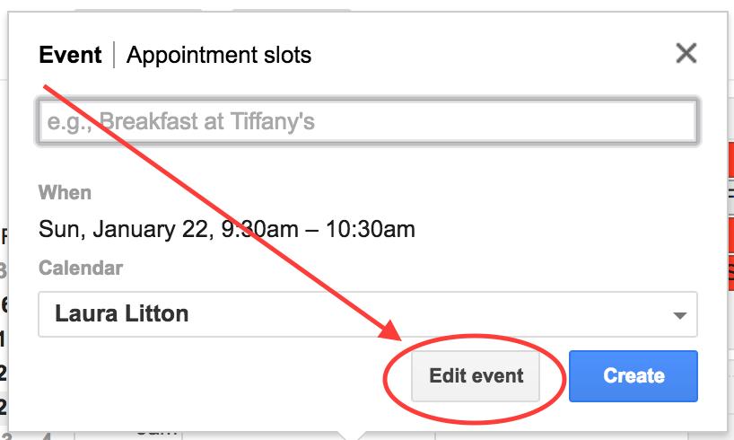 Google Calendar Edit Event
