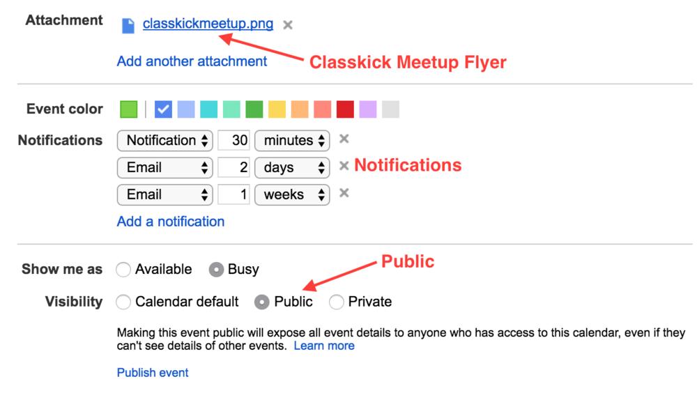 Google Calendar Classkick Meetup