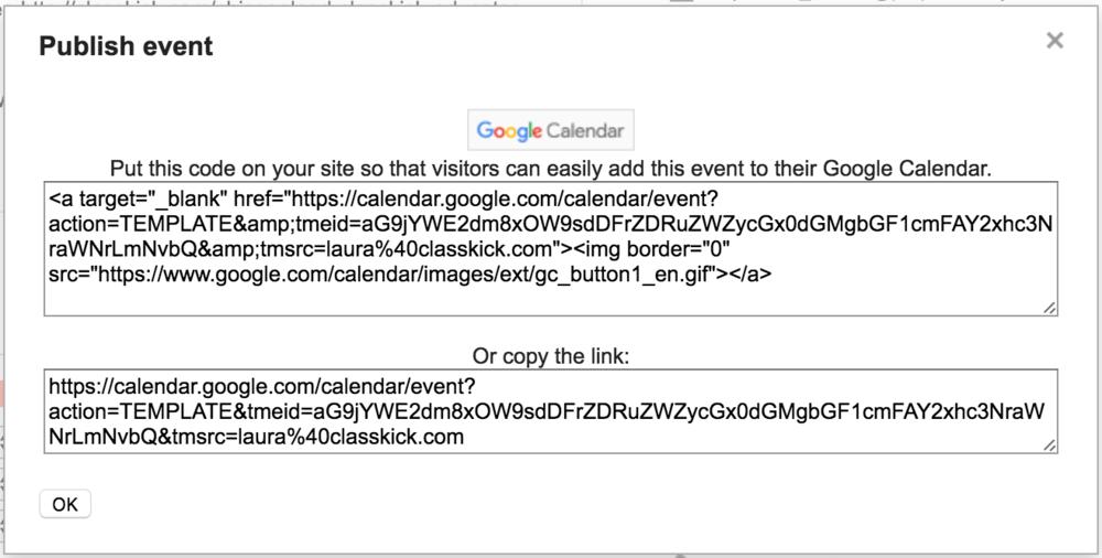 Google Calendar Publish Event