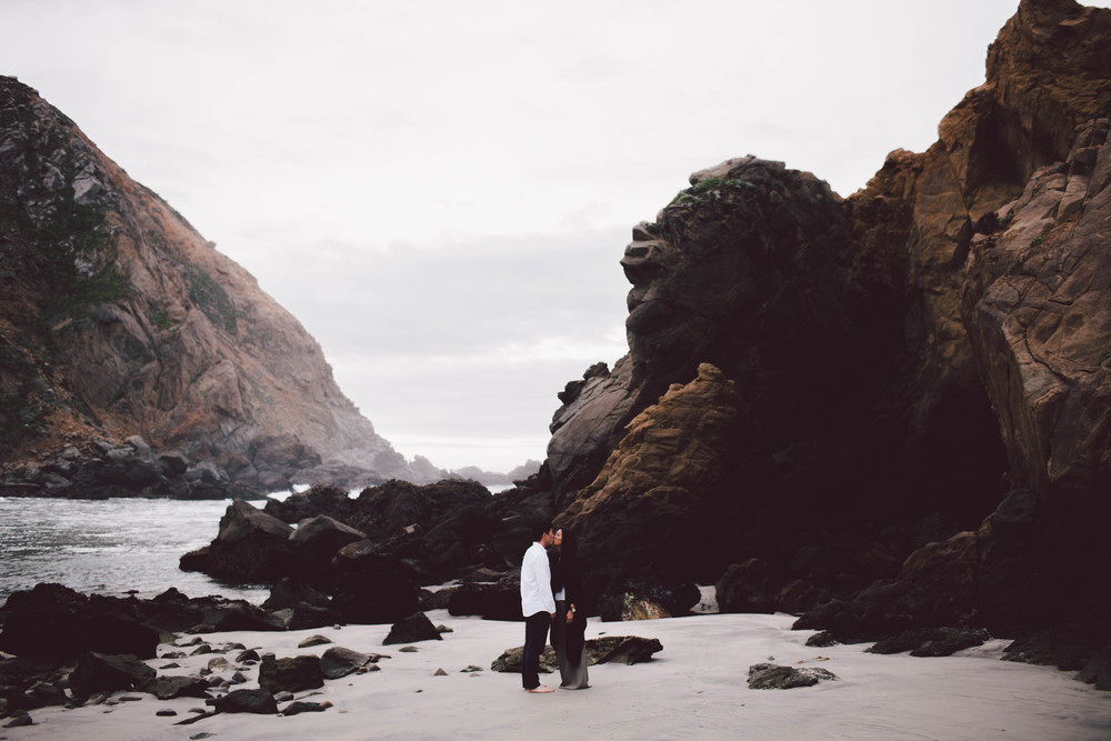 big sur pfieffer beach sunrise engagement portraits