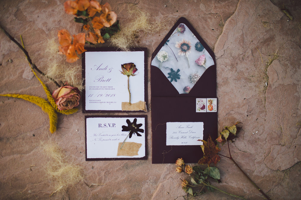 stonewall ranch-maliu-wedding photographer- floral invitation suite