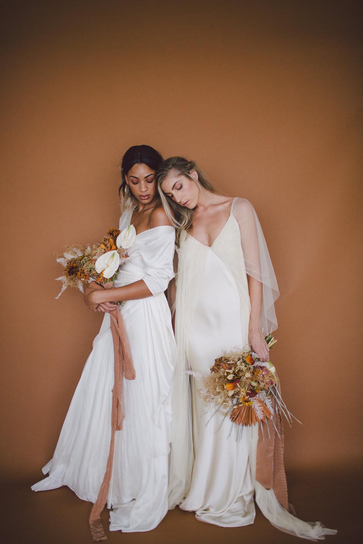 cortana modern simple bridal dress fall florals bouquet