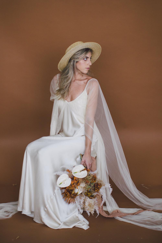 bride hat simple bohemian dress bouquet floral sienna fall