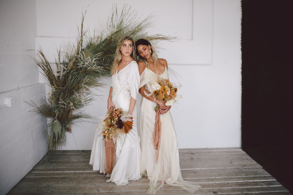 greenery inspiration wedding modern simple dress loho bride
