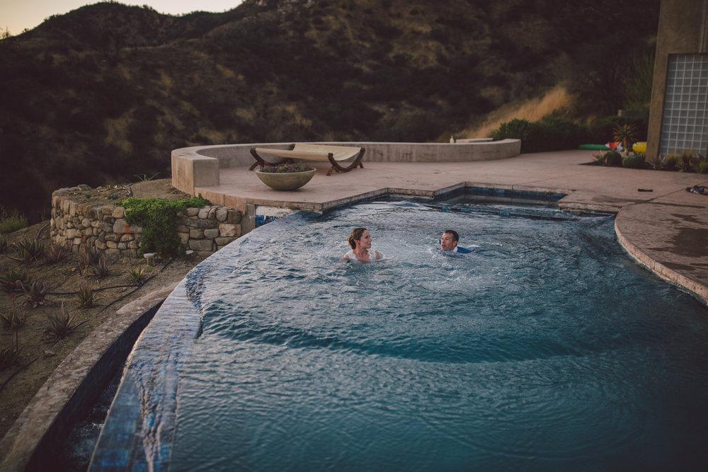 ojai wedding jumping into pool mountain wedding