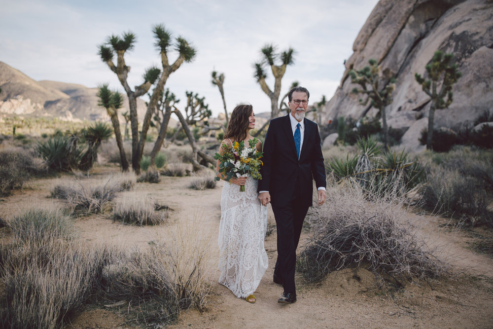 cap rock joshua tree national park elopement bride florals