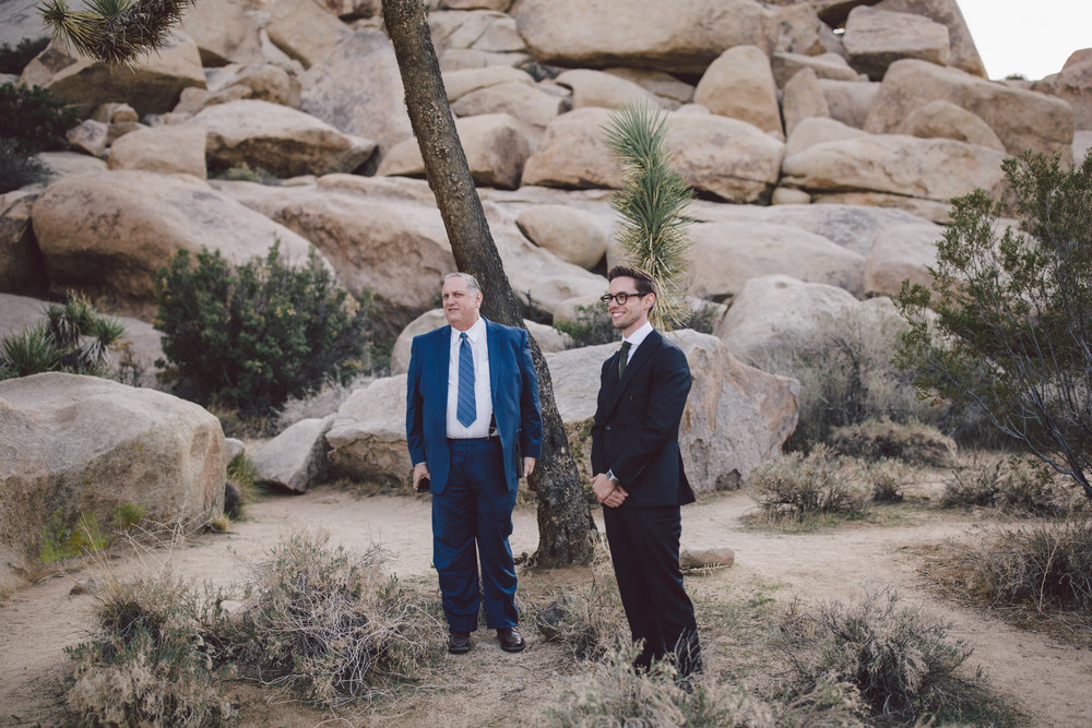 groom ceremony joshua tree elopement cap rock wedding