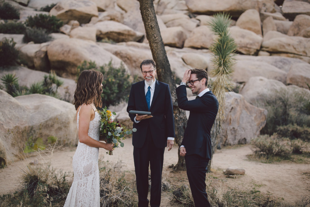 emotional elopement joshua tree cap rock elopement intimate wedding