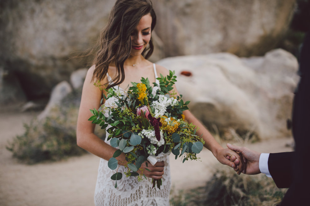 boho bride wild elopement intimate wedding joshua tree