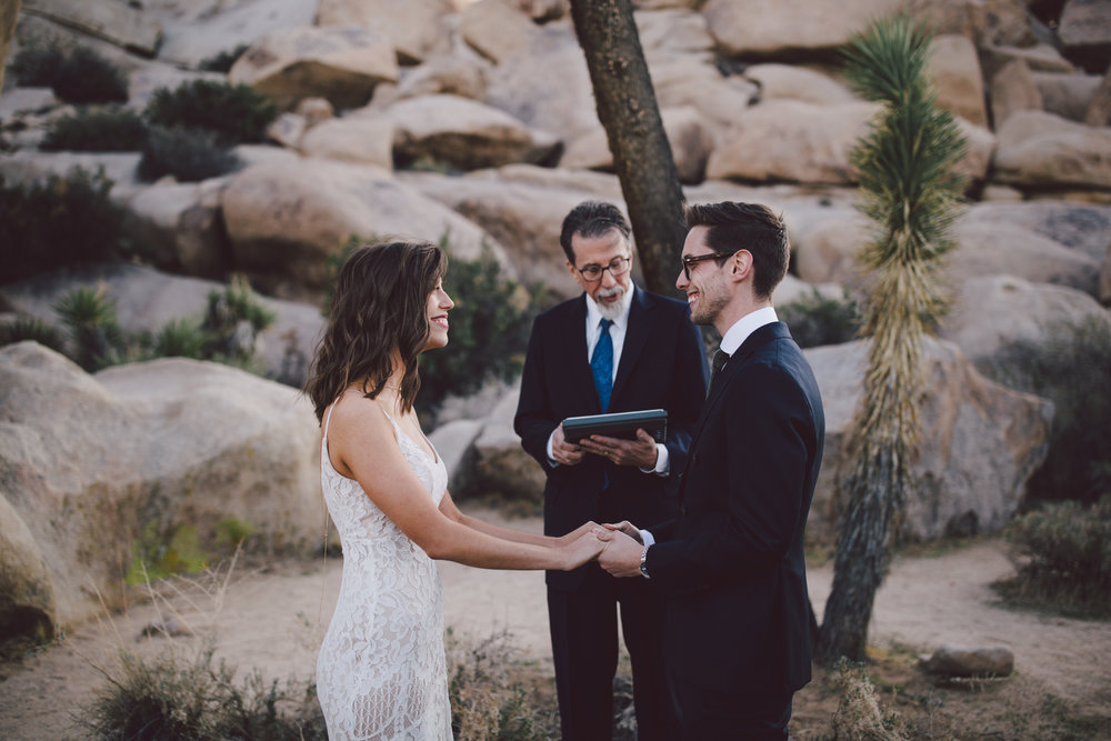 intimate elopement cap rock joshua tree love bohemian