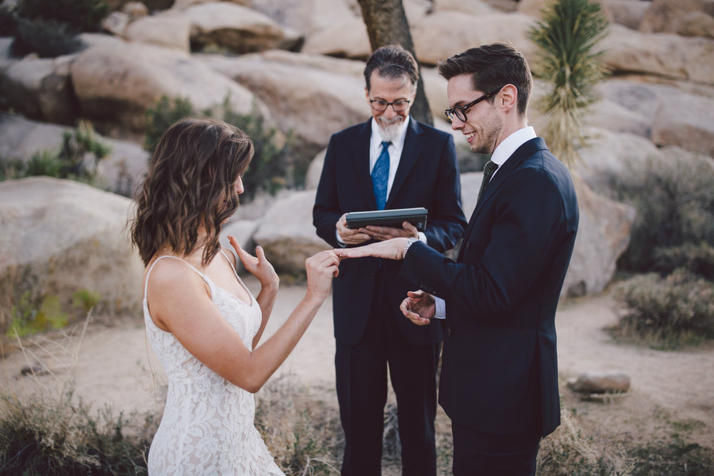 vow exchange joshua tree elopement wedding cap rock