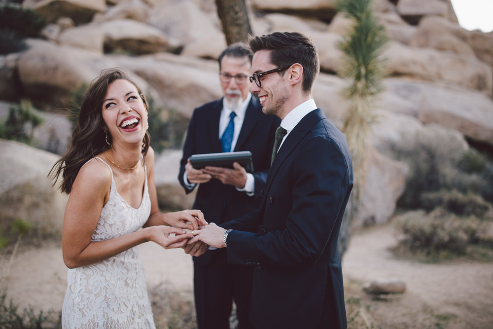emotional intimate wedding elopement joshua tree national park cap rock
