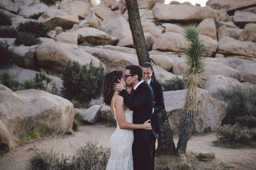 first kiss elopement joshua tree national park bohemian