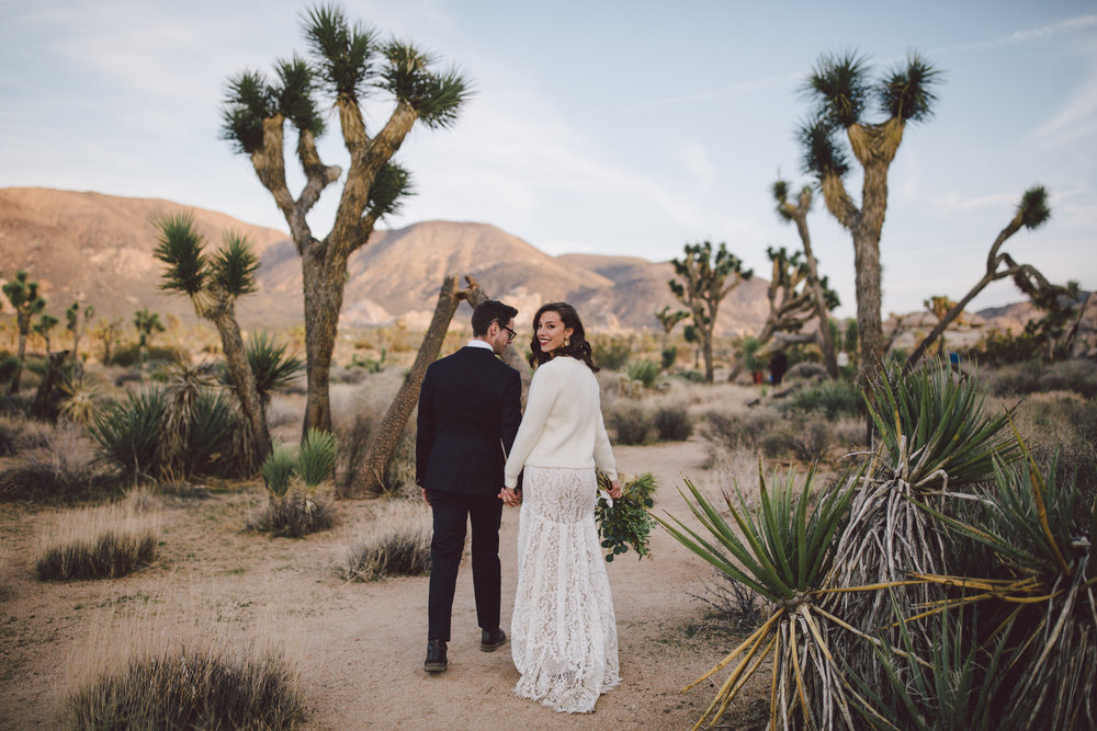 boho bride cap rock joshua tree elopement intimate wedding