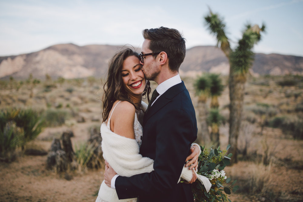 cap rock joshua tree elopement portraits hipster