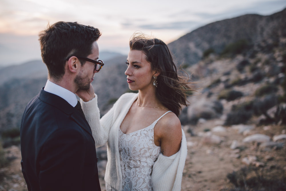 keys view joshua tree sunset elopement california