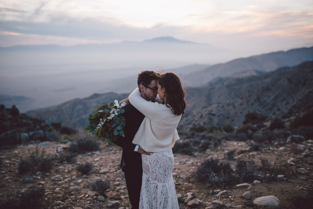 wild joshua tree elopement keys view intimate wedding