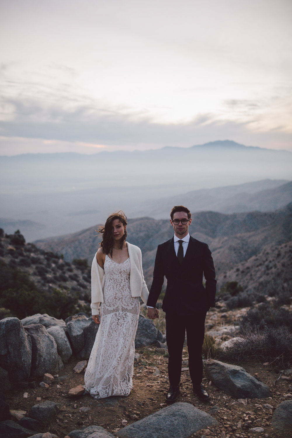 keys view sunset joshua tree elopement
