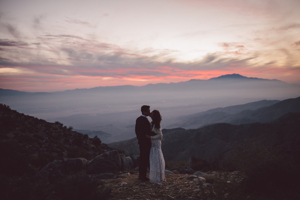 sunset adventure elopement california joshua tree keys view