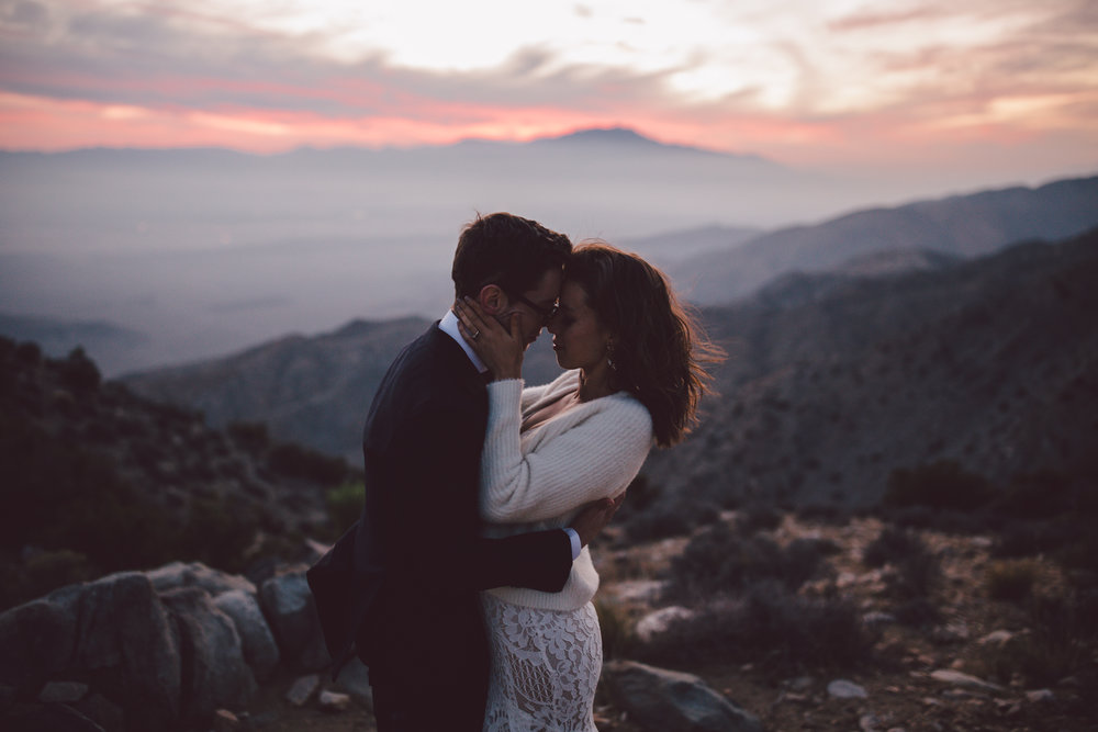 joshua tree fall elopement desert sunset intimate