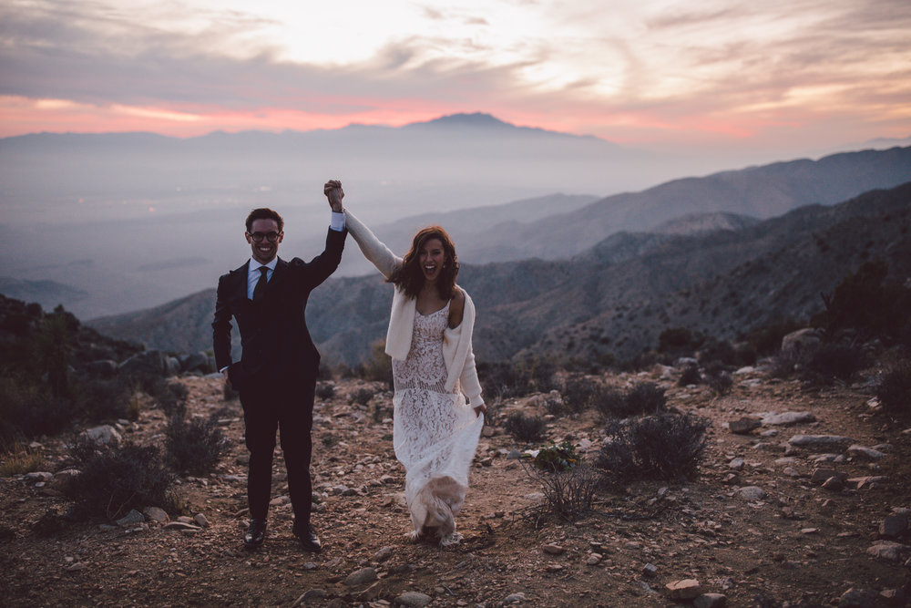sunset elopement keys view joshua tree
