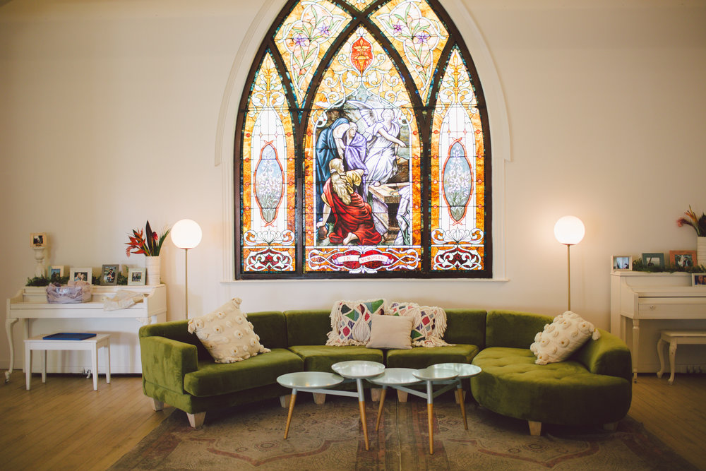 the ruby street- indoor- eclectic- wedding venue-stained glass-los angeles