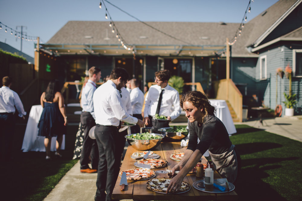 outdoor ceremony-los angeles-cool wedding venue-pizza