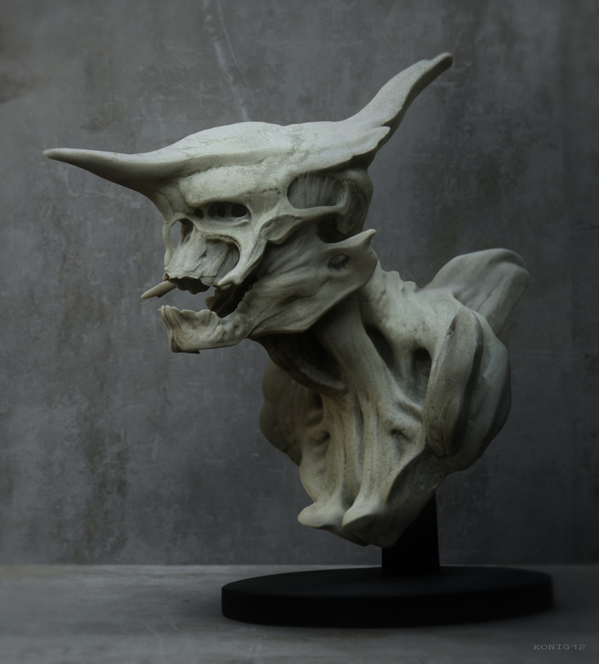 3D Print of a creature bust designed by Pete.