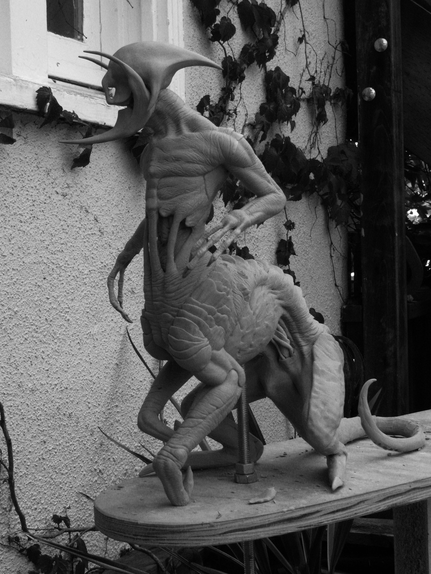 Clay sculpture of one of Pete's creature designs.