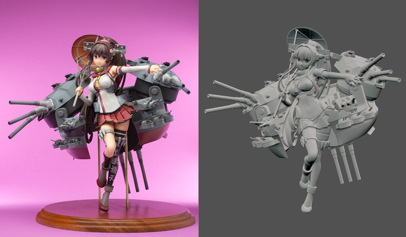 Anime Characters Zbrush : Amazing japanese manga d print model from kankore
