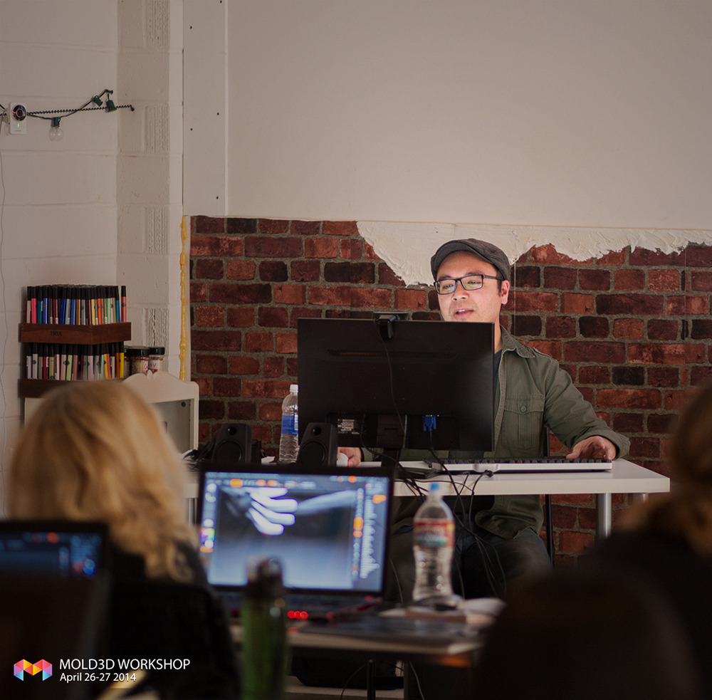 Gio Nakpil teaching some advanced ZBrush techniques to the class. Pixologic was one of the workshop sponsors.