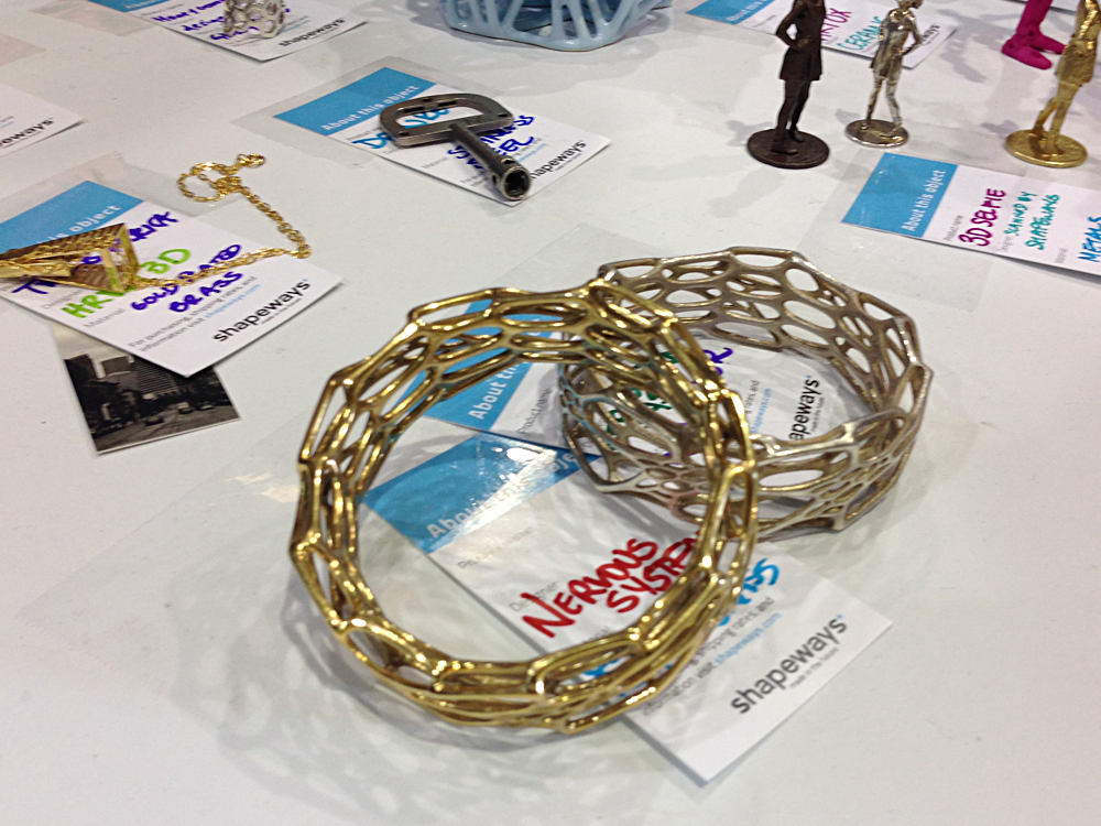 Shapeways had an impressive lineup of 3D Printable material options on display.