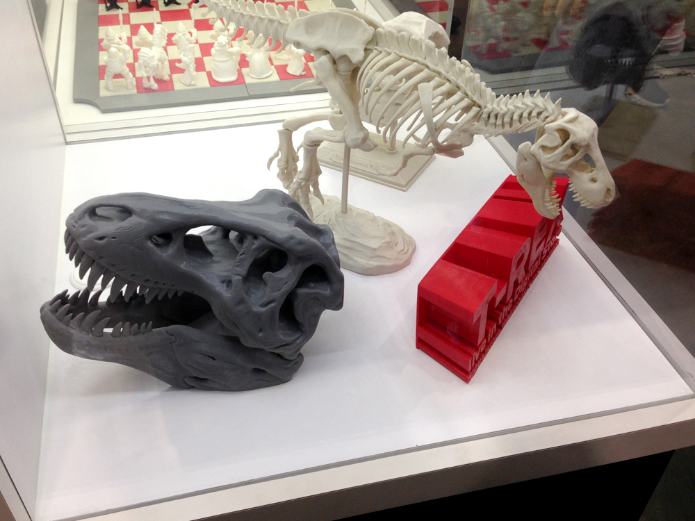 Pre-historic prints. Makerbot showed off a broad range of 3D printed objects.