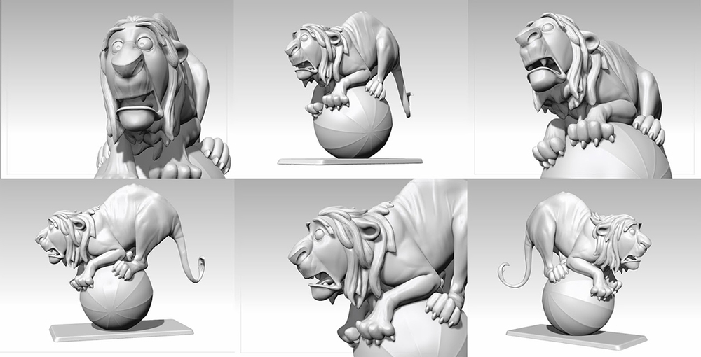 Lion on Ball. One of many Animal 3D models that have been 3D Printed by Gabriele.