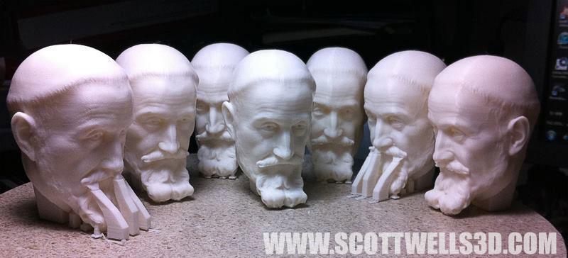 3D Printed heads of the Bernini model.