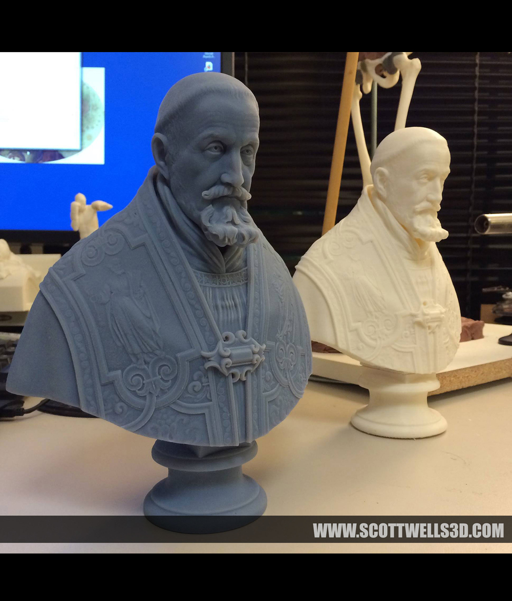 3D Print of the sculpture. Printed on a Stratsys Objet printer. To the right is a version printed on a Makerbot Replicator 2.