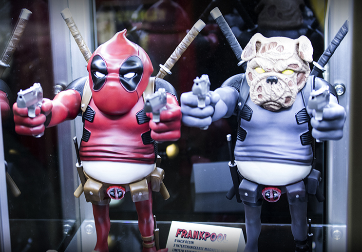 Designer Con is mashup heaven. Deadpool + bulldogs = weird and wonderful custom artwork.