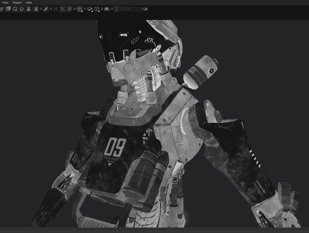 The final result of using a combination of hand painting and smart masks to create a roughness map.