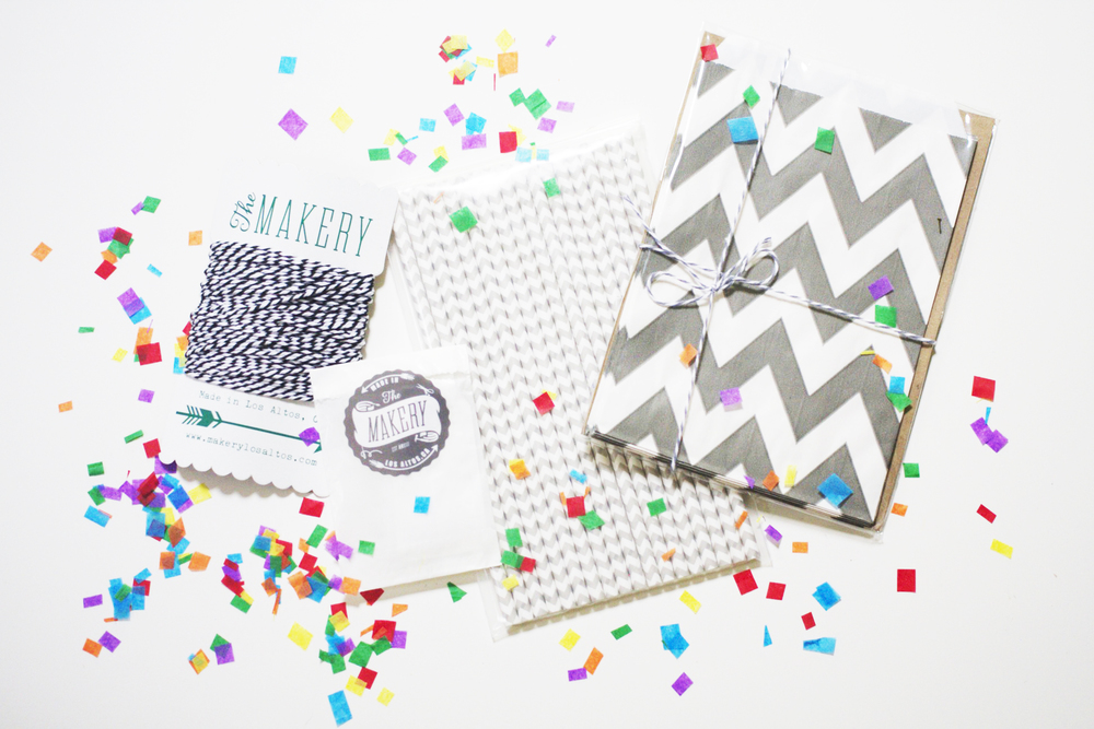 Local Bay Area shop,  The Makery  in Los Altos, contributed the perfect party packs of colorful twine, gift tags, matching paper straws, favor bags and confetti.